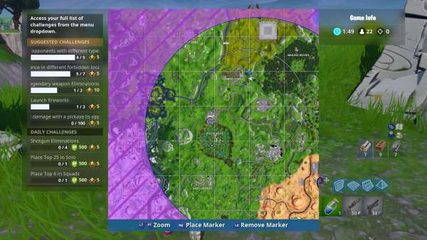 Where to Search Between Giant Rock Man Crowned Tomato Encircled Tree in Fortnite