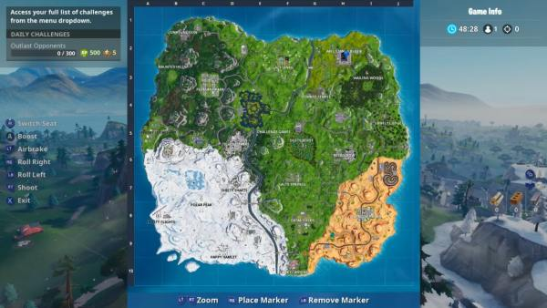 Block location map in Fortnite