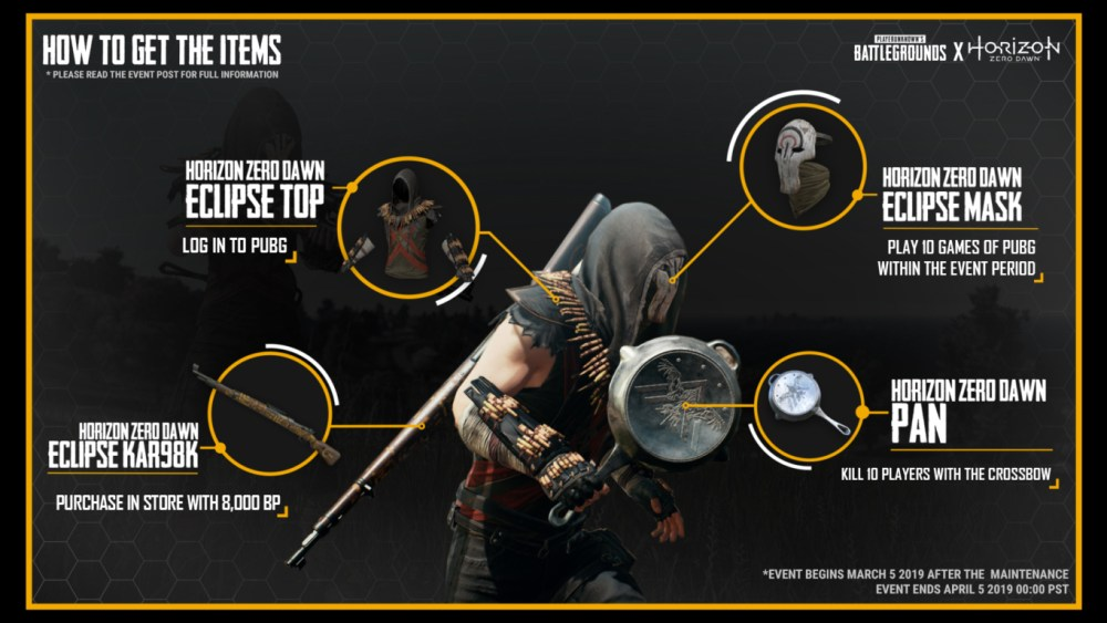 PUBG, Horizon Zero Dawn, Crossover, skins, horizon, ps4, playstation, battle royale, weapon, new, event