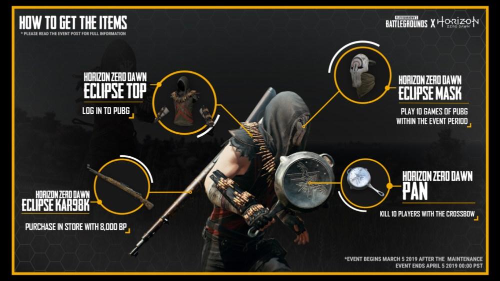 PUBG, Horizon Zero Dawn, Crossover, skins, horizon, ps4, playstation, battle royale, weapon, new, event