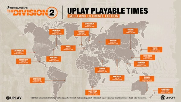 Division 2 early access times uplay