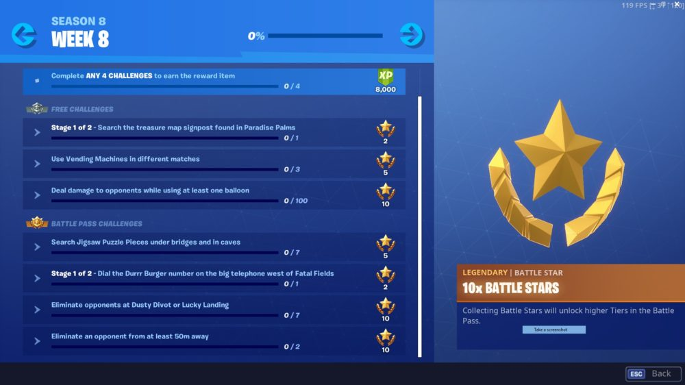 Fortnite week 8 challenges