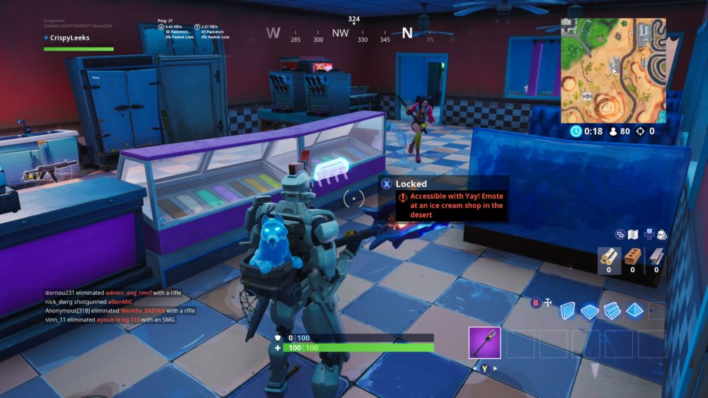 Fortbyte 6 Location, yay emote in ice cream shop in desert