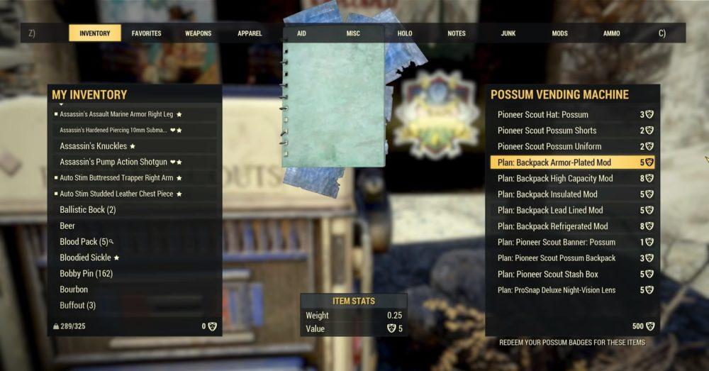 possum vending machine fallout 76 backpack mods