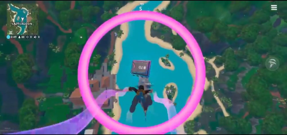 Fortnite fortbyte 70, rings above lazy lagoon