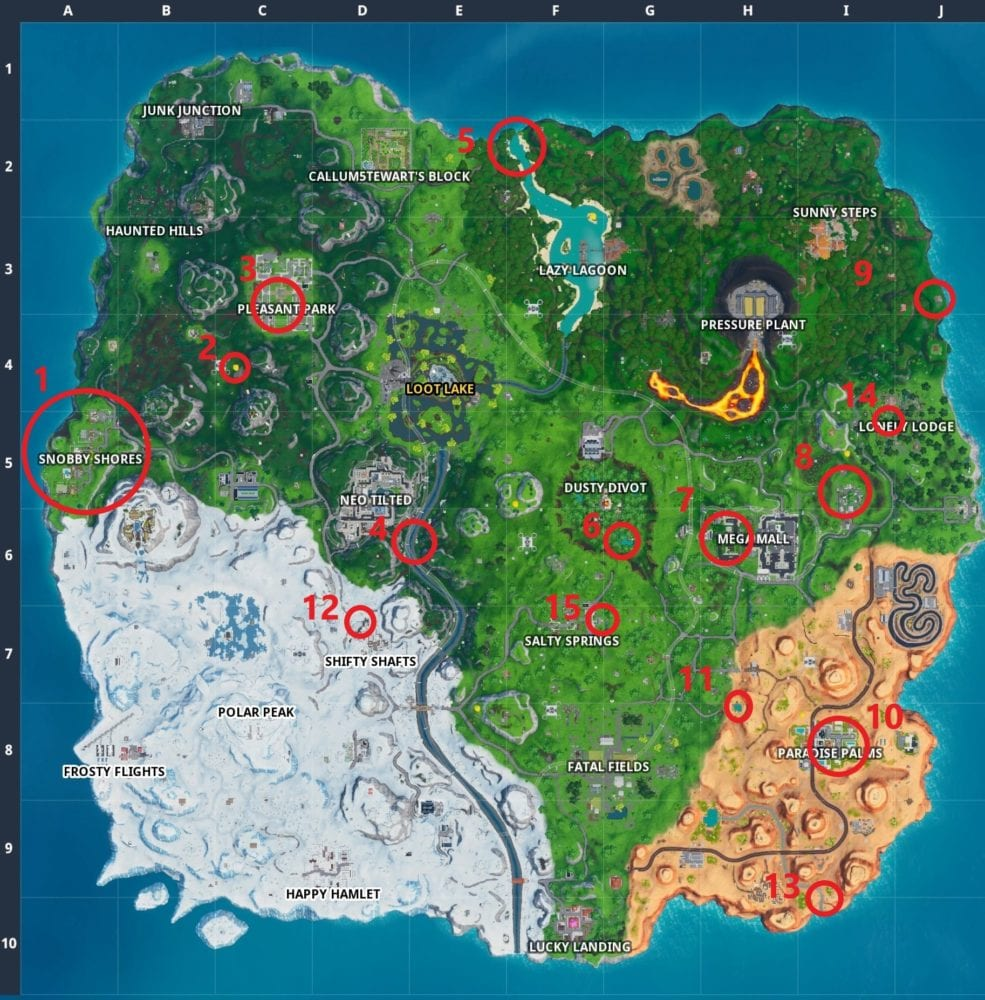Fortnite grill locations, Fortnite 14 Days of Summer challenge locations