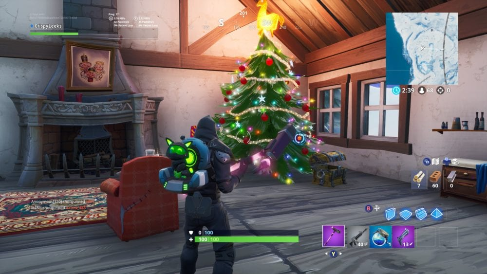 fortbyte 29 underneath tree in crackshot's cabin