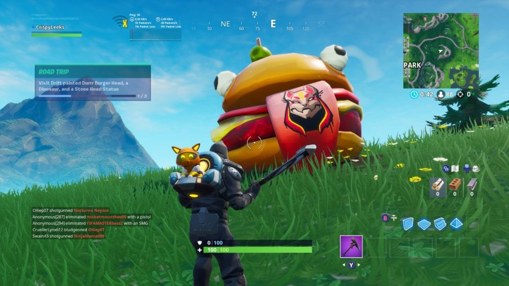 fortntie drift painted durr burger head
