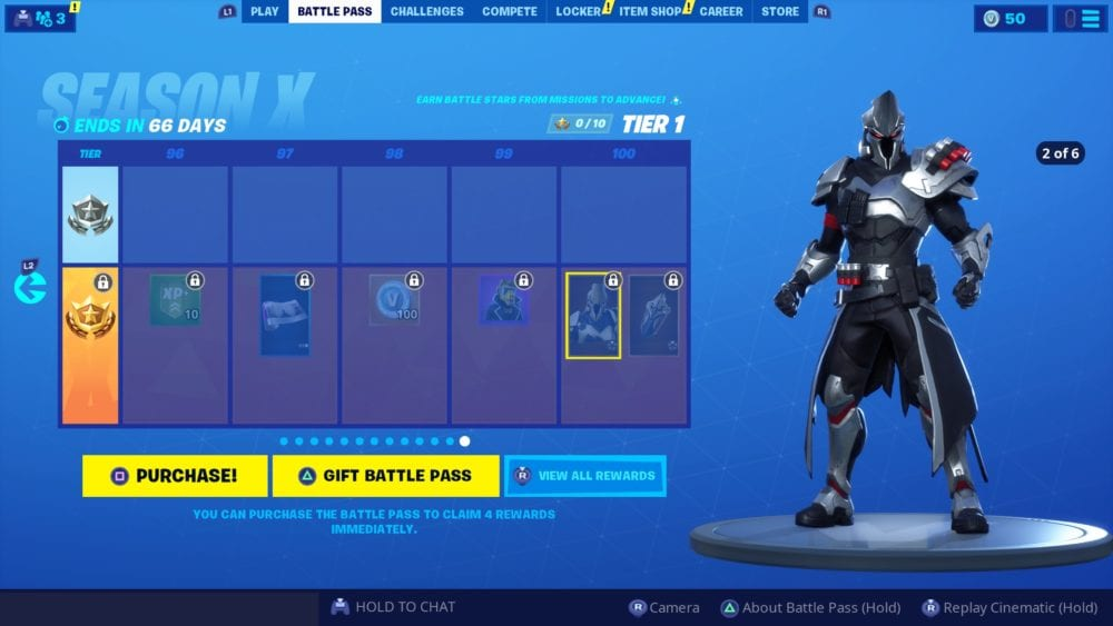 Fortnite, tier 100 skin