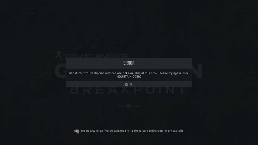 Ghost Recon Breakpoint Mountain 00800 error code
