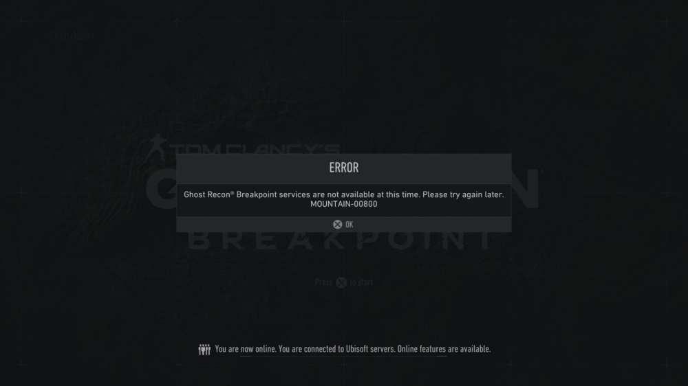 Ghost Recon Breakpoint Mountain 00800 error code