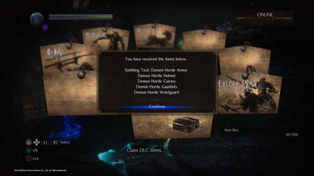 Nioh 2 Demon Horde armor dlc