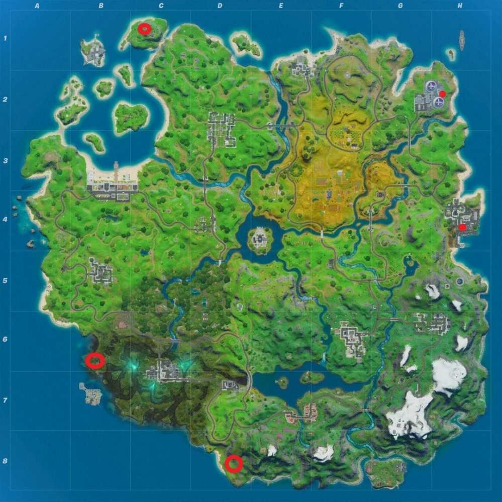 Fortnite Golden Pipe Wrench Locations Map