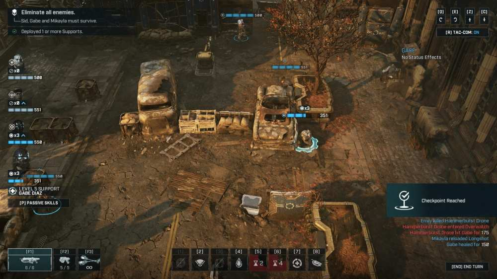 Reaching checkpoints to save in Gears Tactics