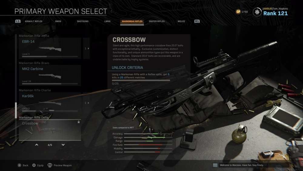 warzone, crossbow