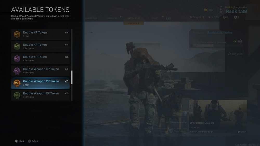 modern warfare, double weapon xp tokens