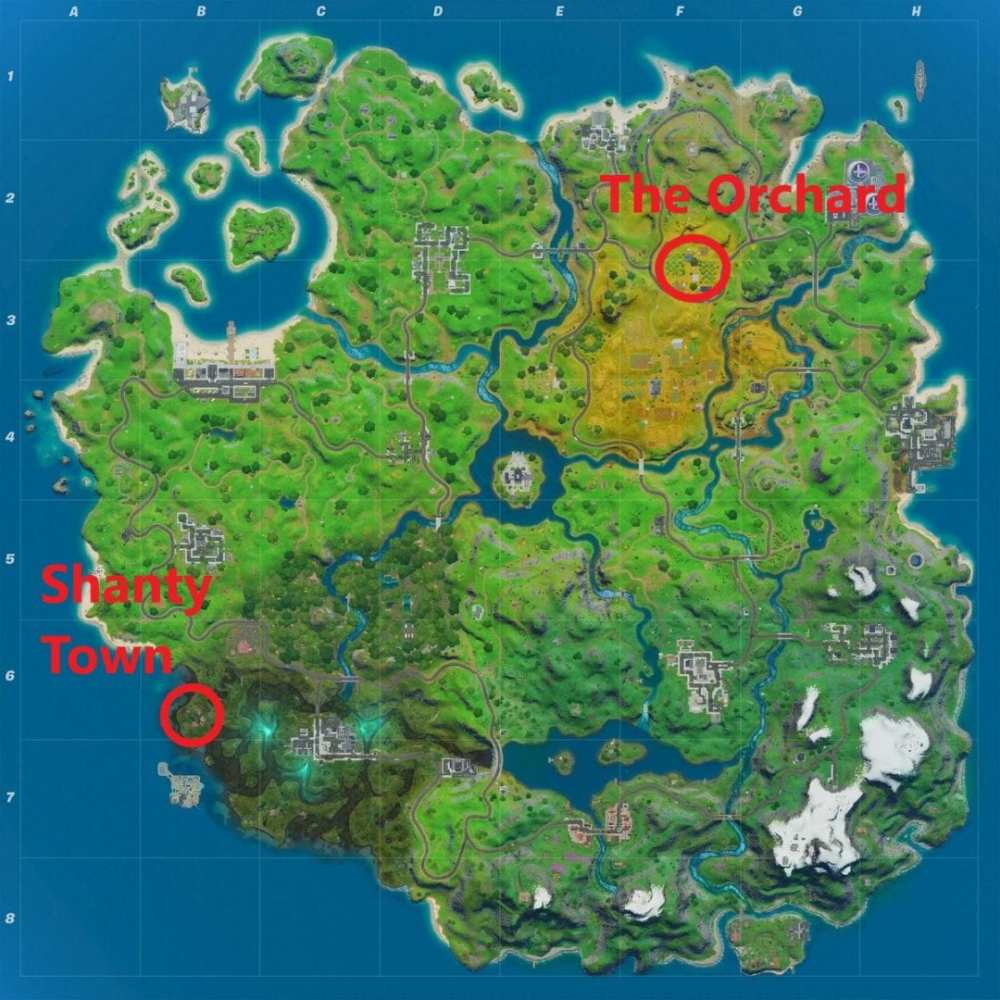 Fortnite orchard, fortnite shanty town, fortnite apply shields shanty town