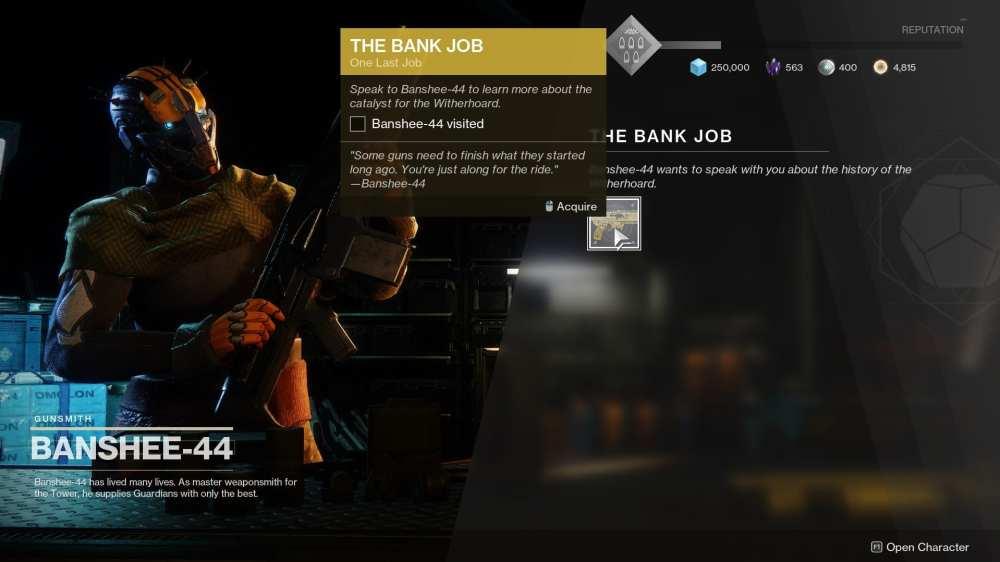 destiny 2 witherhoard catalyst, bank job