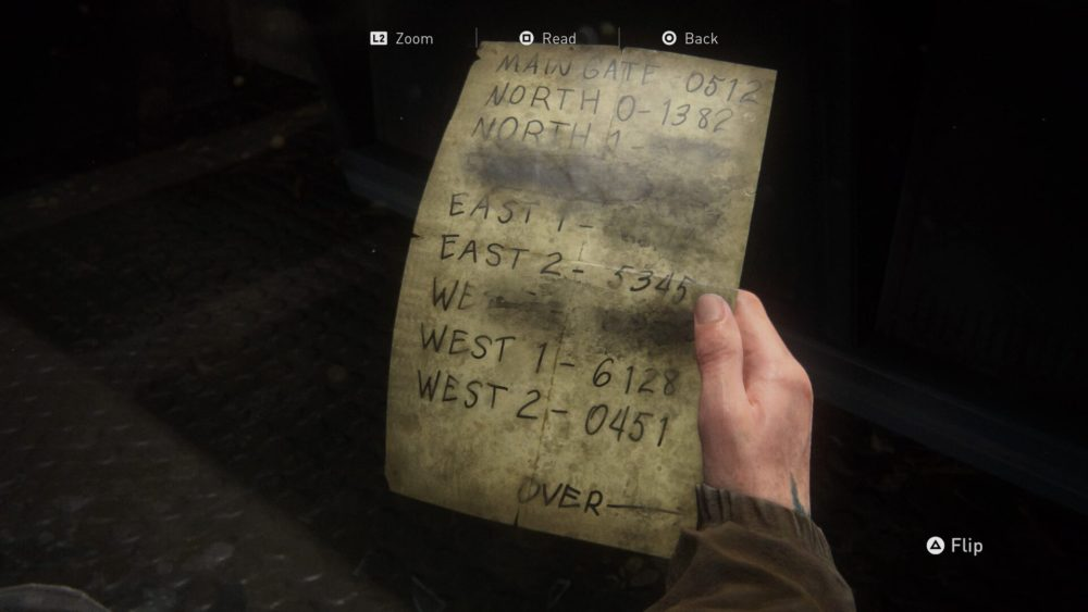 Last of us 2 main gate code