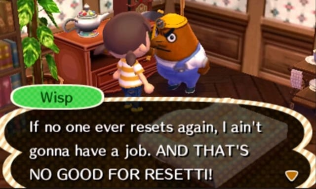 resetti, animal crossing