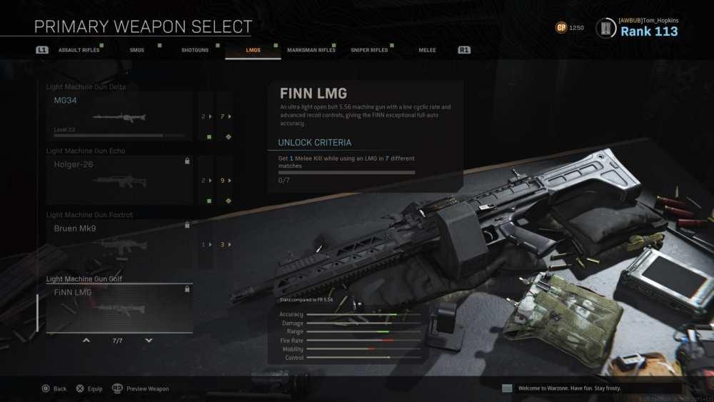 modern warfare, finn lmg