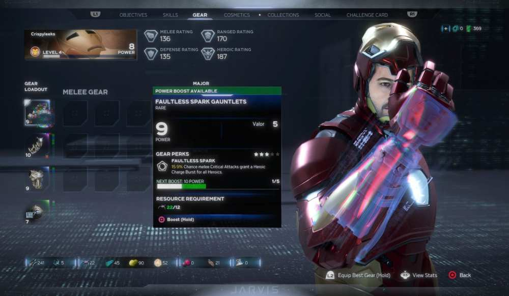 Cómo aumentar el nivel de potencia del equipo Marvel's Avengers