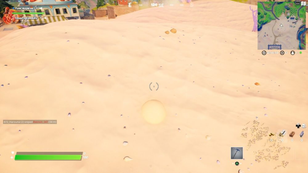 Fortnite, bury in sand