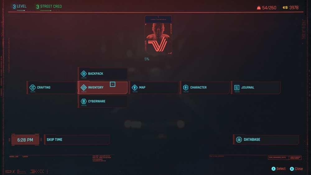 cyberpunk 2077 open inventory