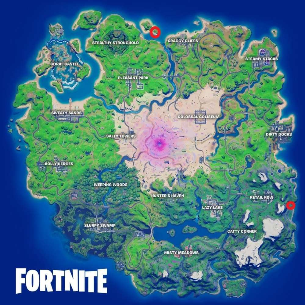 mapa de ubicaciones de búnkeres ocultos de fortnite