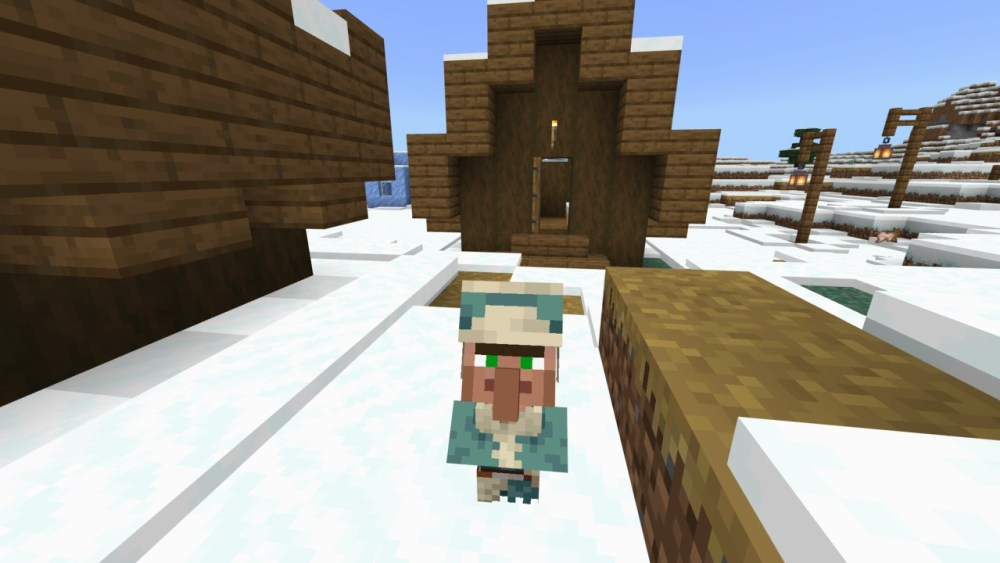 Baby Minecraft 1.17 villager outside house