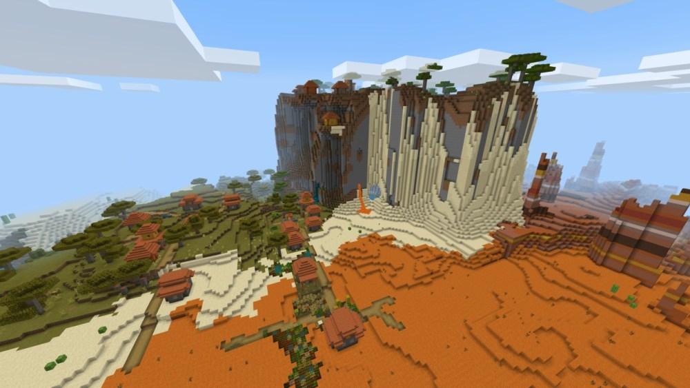 Minecraft 1.17 mountains next to village