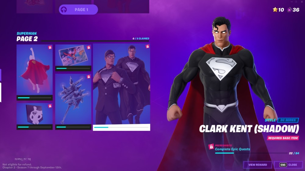 fortnite shadow clark kent and superman skins