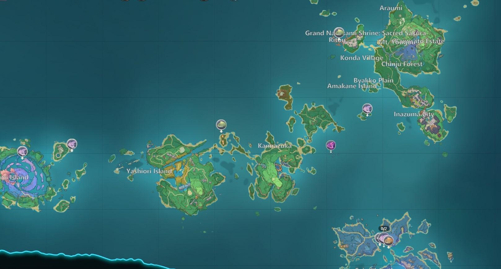 Genshin Impact Fishing Map Inazuma