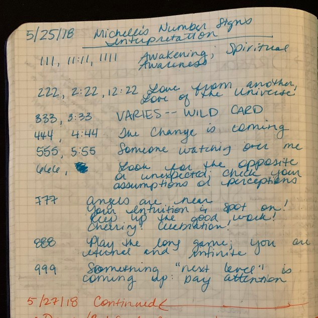 Michelle's May 25, 2018, journal entry about angel numbers