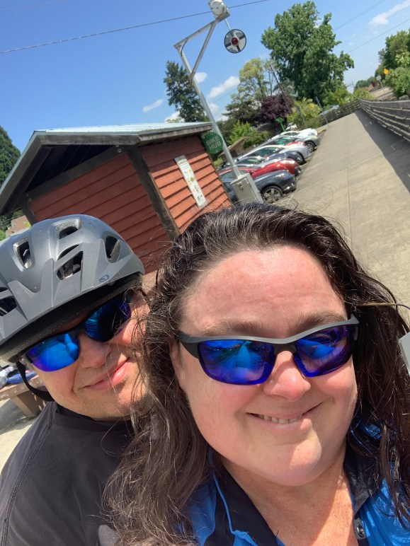 Michelle & Justin at the trail's end in Banks, after 20.5 miles of riding. Divine masculine energy in full tilt!