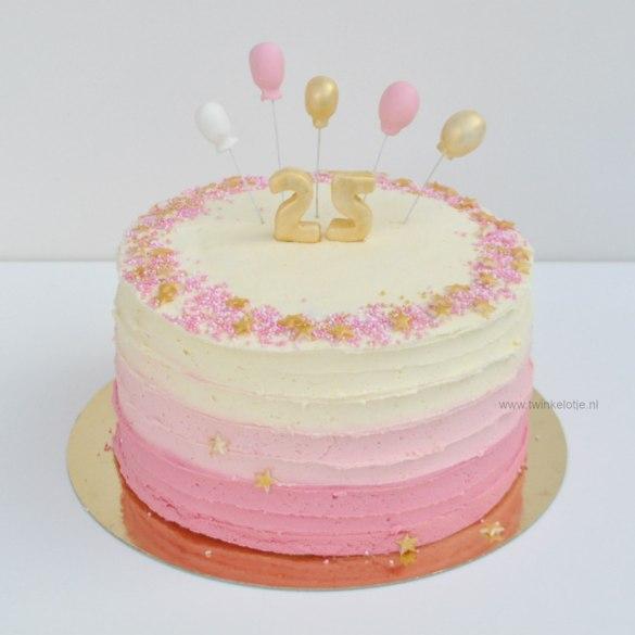 Ombre botercrème taart met sprinkels