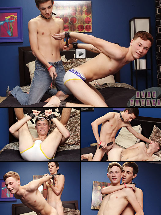 mischievous twinks have bareback bondage sex