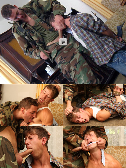 horny soldier fucks a sweet muscle pup in the mouth