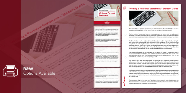 A level resources: Writing a Personal Statement Student Guide
