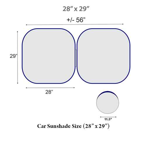 "Car Sunshade Size (28"" x 29"")"