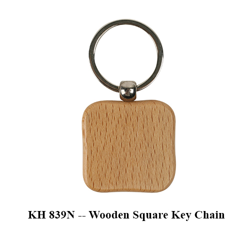 KH 839N — Wooden Square Key Chain