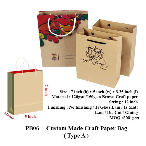 PB06 — Custom Made Craft Paper Bag (Type A)
