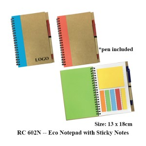 RC 602N Eco Notepad with Sticky Notes - RC 602N -- Eco Notepad with Sticky Notes