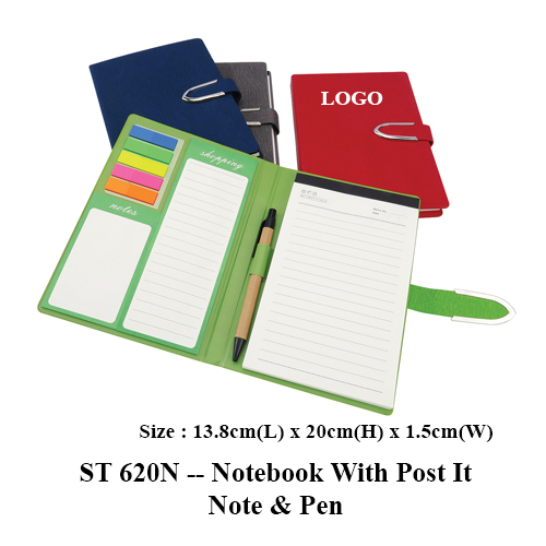ST 620N — Notebook With Post It Note & Pen