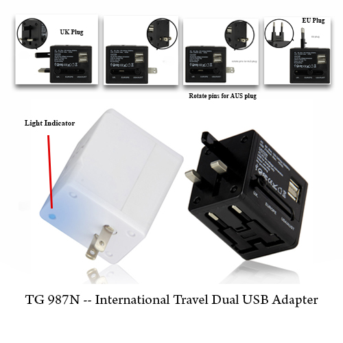 TG 987N — International Travel Dual USB Adapter