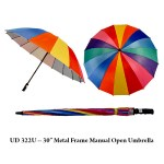 "UD 322U 30    Metal Frame Manual Open Umbrella - UD 321U -- 30"" Double Level Ribs Windflow Umbrella with EVA Handle"