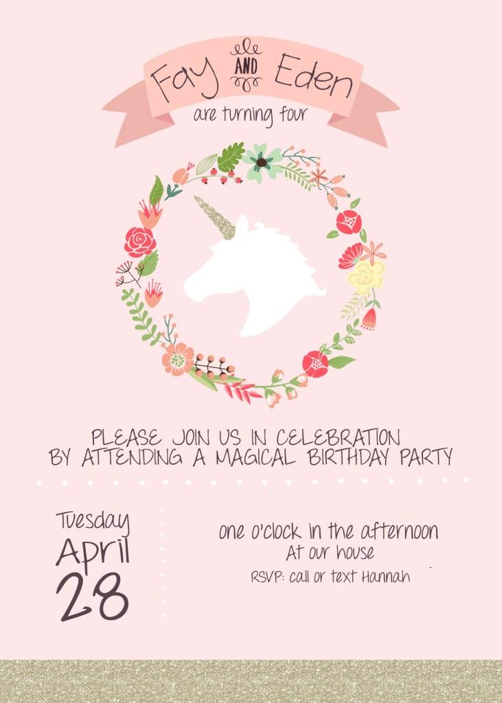 Unicorn invitation-no info