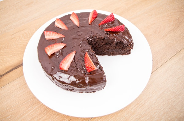 choc cake with strawberries