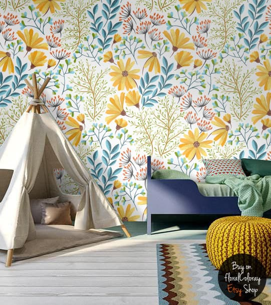 flower wallpaper DIY murals for kids rooms
