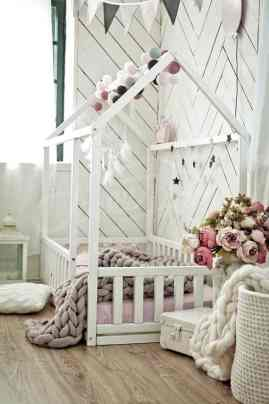 montessori kids rooms house bed 03